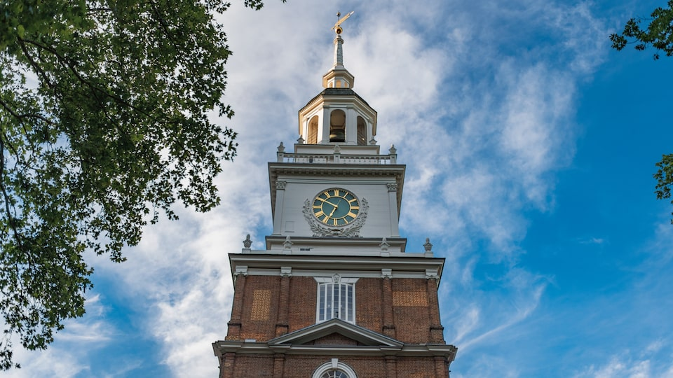 The clock tower of Independence Hall in Philadelphia.