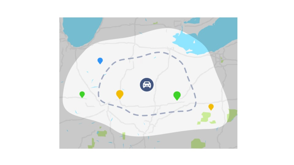 "A view of the Bolt EV's ""energy bubble"" on the map in the Energy Assist feature of the myChevrolet Mobile App."