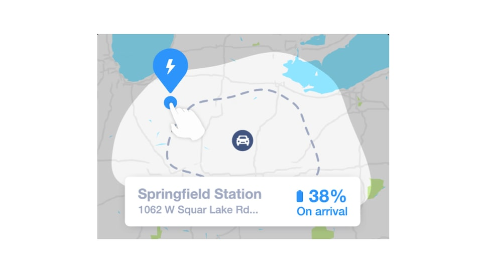 "A view of the Bolt EV's ""energy bubble"" on the map in the Energy Assist feature of the myChevrolet Mobile App, showing 38% charge on arrival at a charging station."