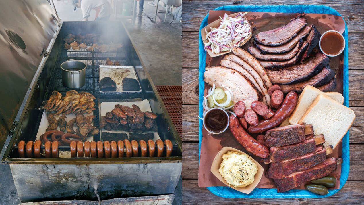 Assorted barbecue meats.