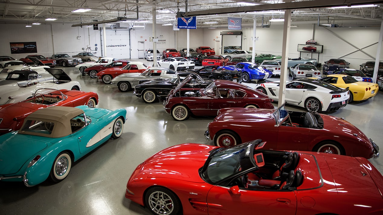 Corvettes from many generations, in many colors, in Ken Lingenfelter's collection.