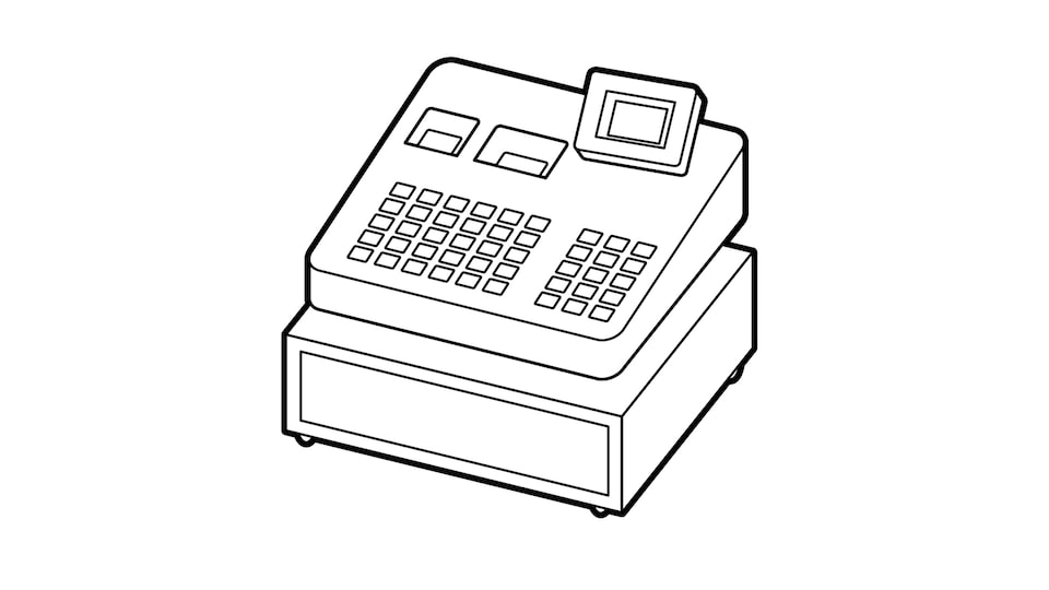 A line drawing of a cash register.