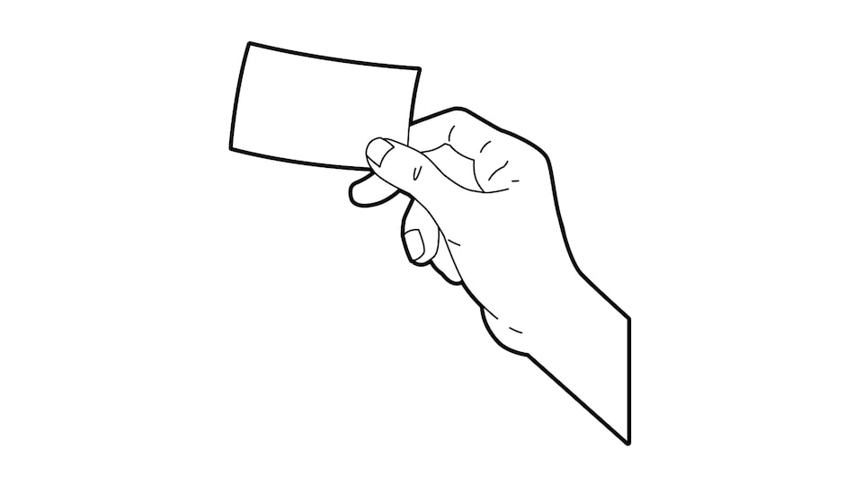 A line drawing of a hand holding a credit card.