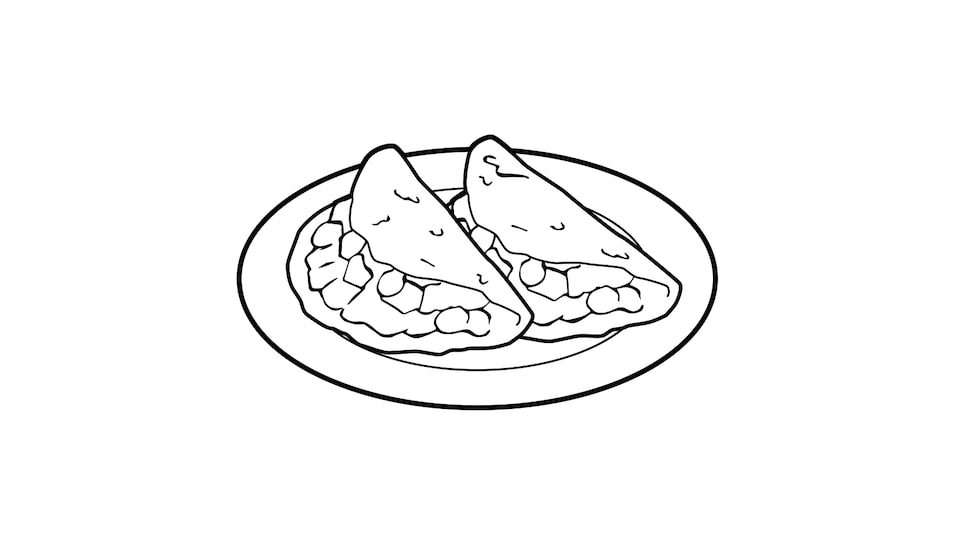 A line drawing of two tacos on a plate.