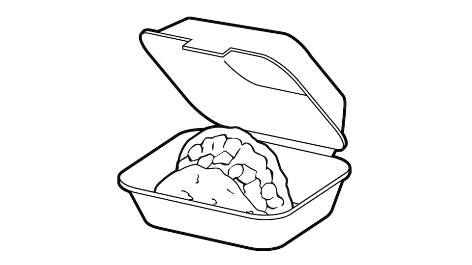 A line drawing of a taco in a clamshell takeout box.