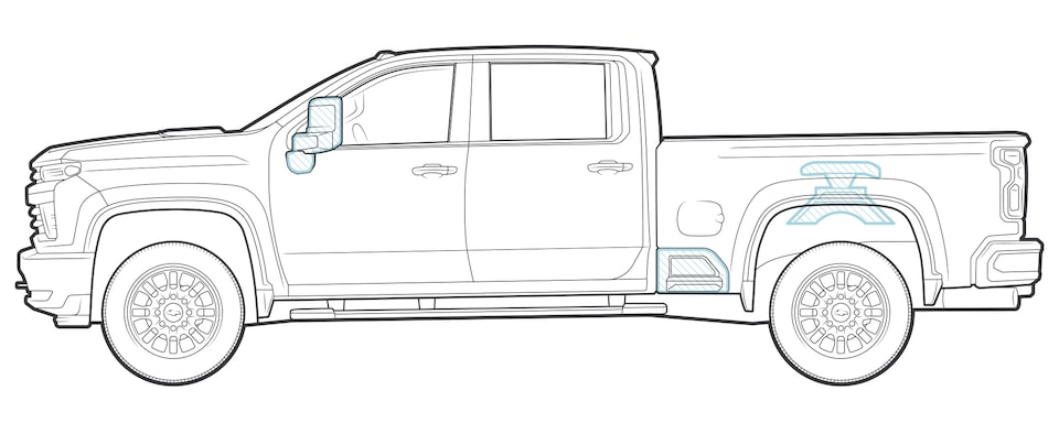 An illustration of an All-New Silverado HD pickup truck.