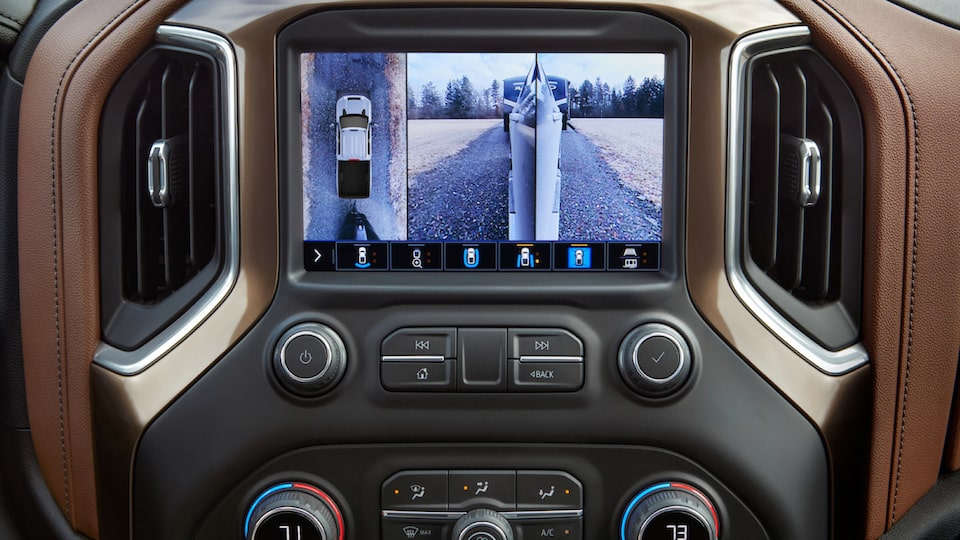 A view of the touch-screen in a Silverado pickup showing the various camera displays used while trailering.