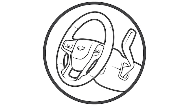 Illustration of a steering wheel.