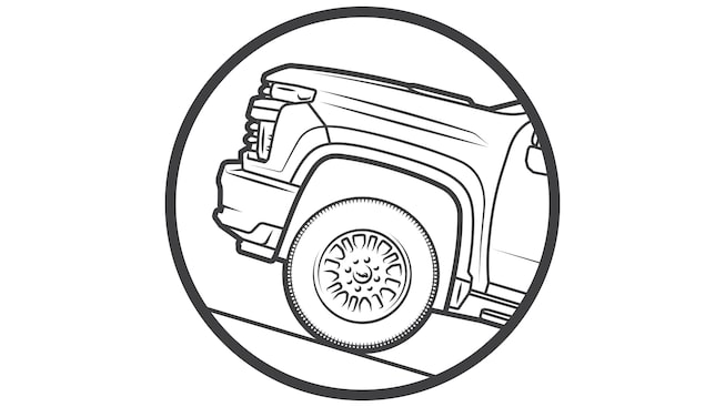 Illustration of the front of a pickup truck on an uphill grade.