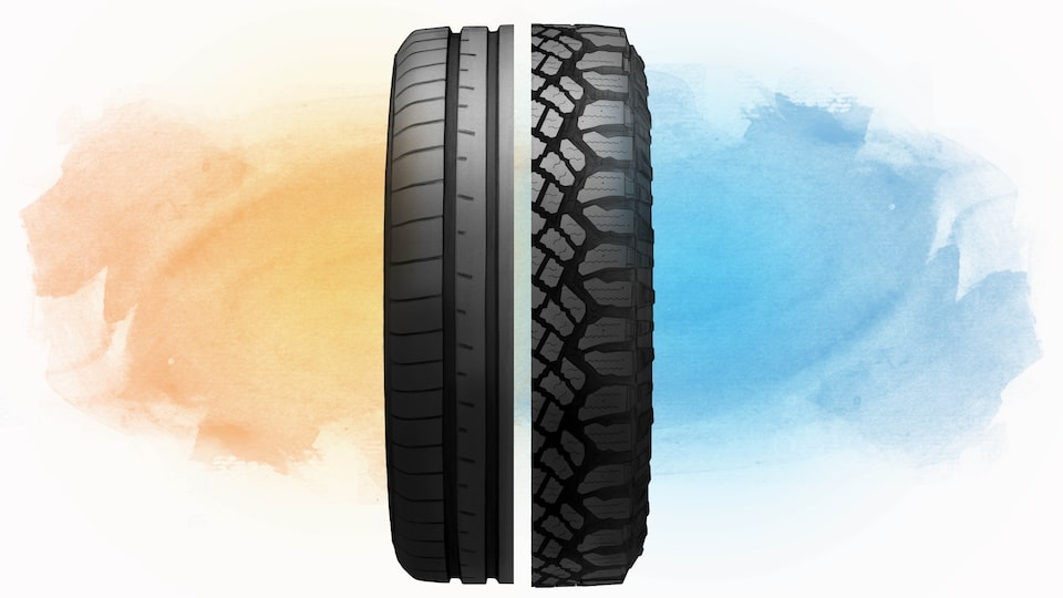 An illustration of a tire split down the center of the treads, with the left half the tread of a performance tire and the right half the tread of  an all-terrain tire.