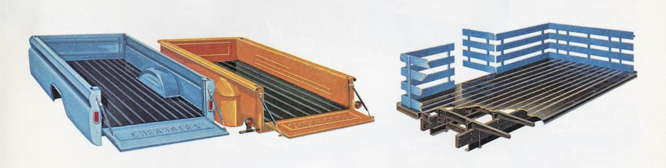 An illustration from the 1962 C/K Series truck brochure showing the different types of beds available for the truck.
