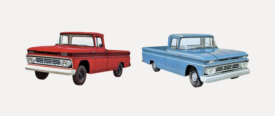 An old photograph from the 1962 C/K Series truck brochure showing a red and a blue pickup from the C/K Series.