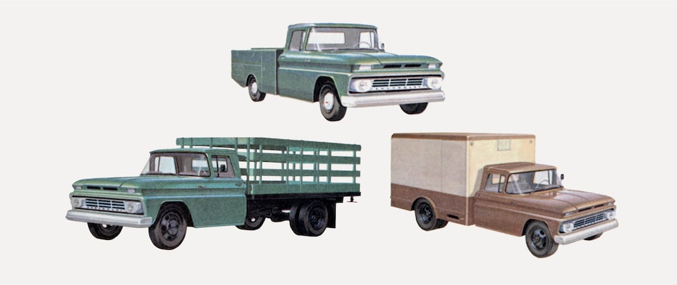 An old photograph from the 1962 C/K Series truck brochure showing a green pickup, a green flatbed truck, and a brown cargo box truck from the C/K Series.