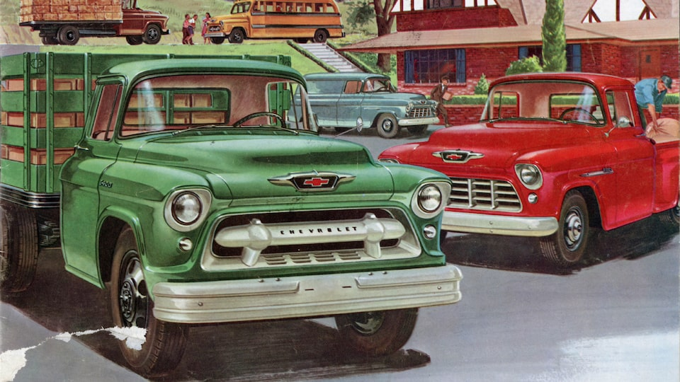 An illustration from a 1955 Chevy Truck brochure showing a group of different configurations of Chevy Task Force trucks in various colors.