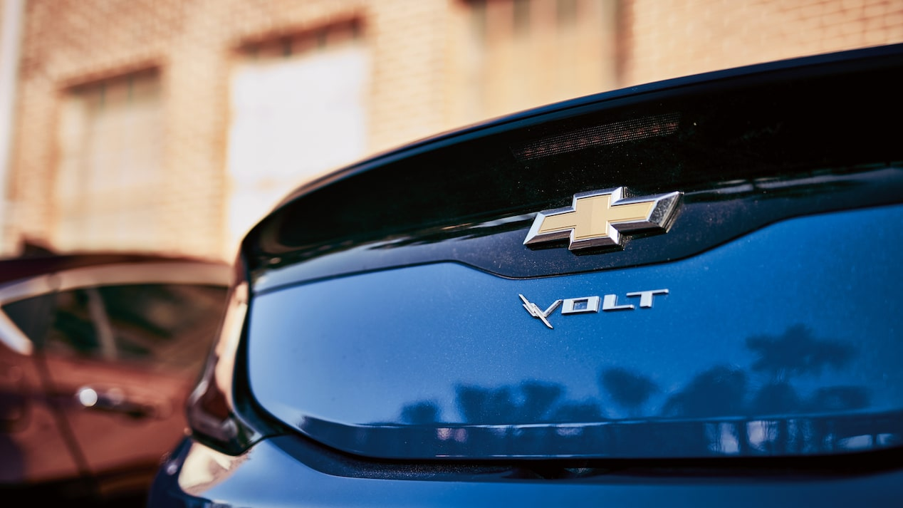 Close-up of back of a blue Chevrolet Volt.
