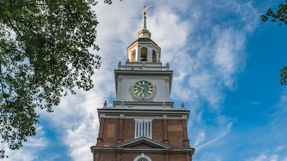 The top of the clock tower of Independence Hall in Philadelphia.