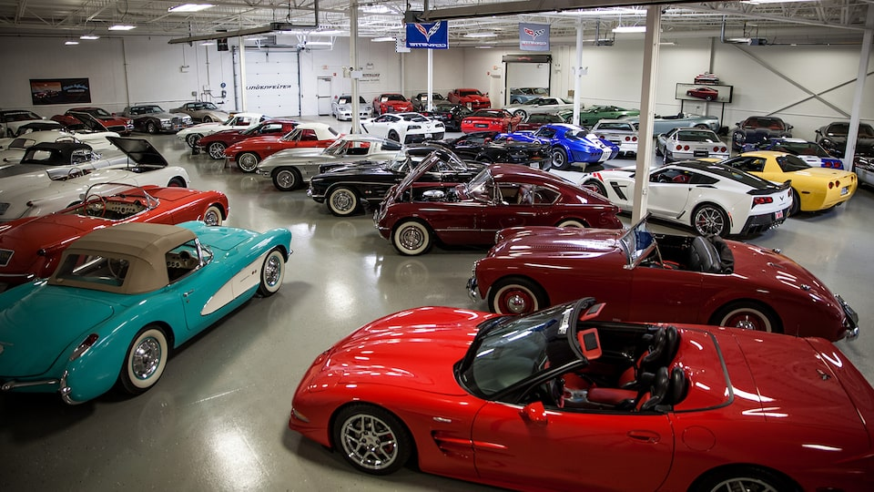 Vintage and modern Corvettes among other vehicles in Ken Lingenfelter's collection.