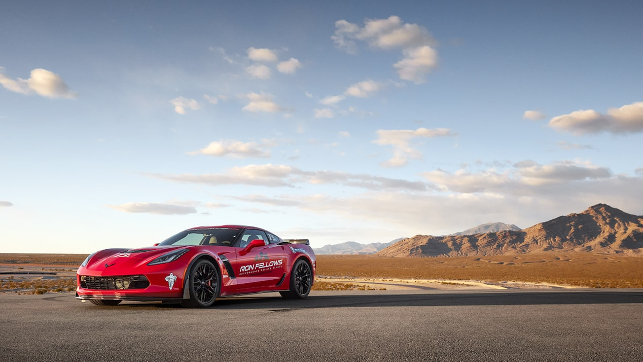 A Corvette parked near the desert race track at the Ron Fellows Performance Driving School.
