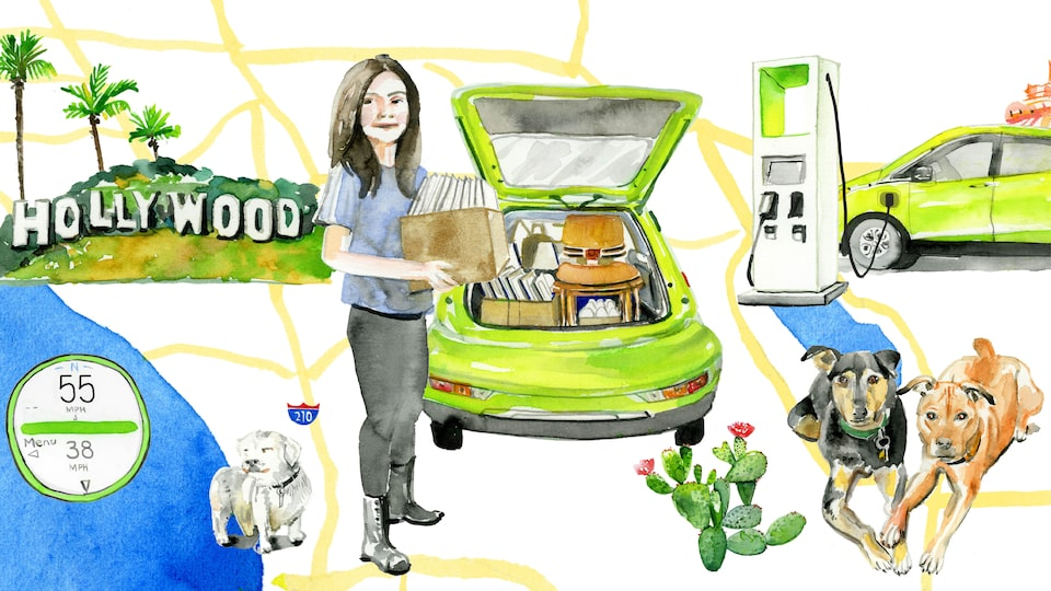 An illustration of Nicole Dome overlaid on a map illustration with her Shock green Bolt EV, her three dogs, an electric charging station, and the Hollywood sign in the background.