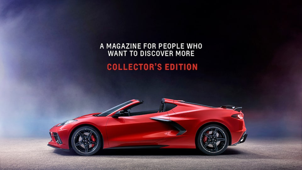 The cover of the New Roads Collector's Edition showing a Torch Red 2020 Corvette on a black background.