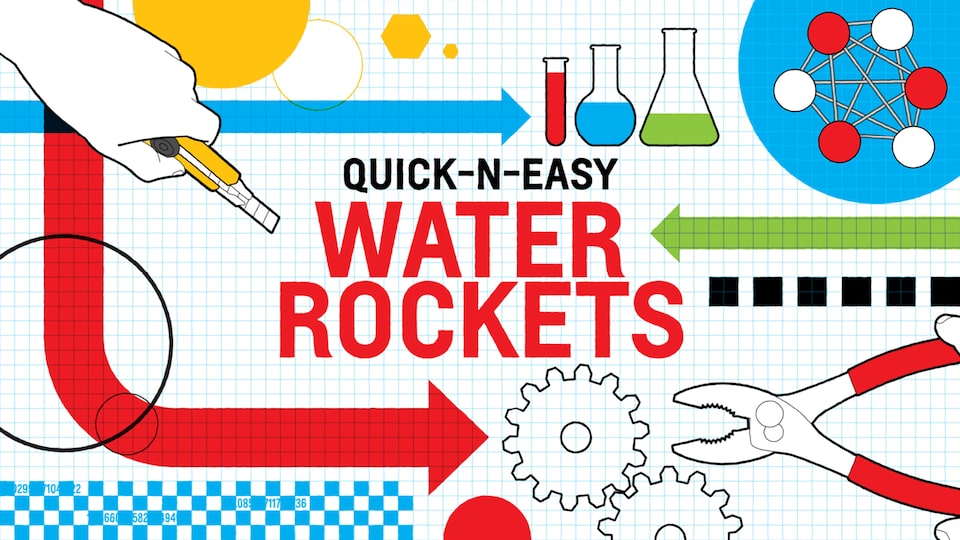 "An illustration on white and blue graph paper of a hand holding a utility knife, several glass beakers and test tubes, a gear, and a pair of pliers with the words ""Quick-n-Easy Water Rockets."""