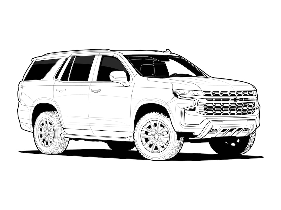 A black and white illustration of a 2021 Chevy Tahoe.