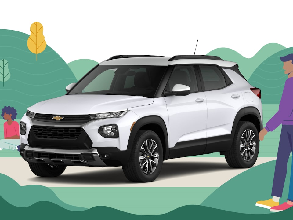 "An illustration of green hills, trees and flowers with the words ""Pick the Right Chevy SUV."""
