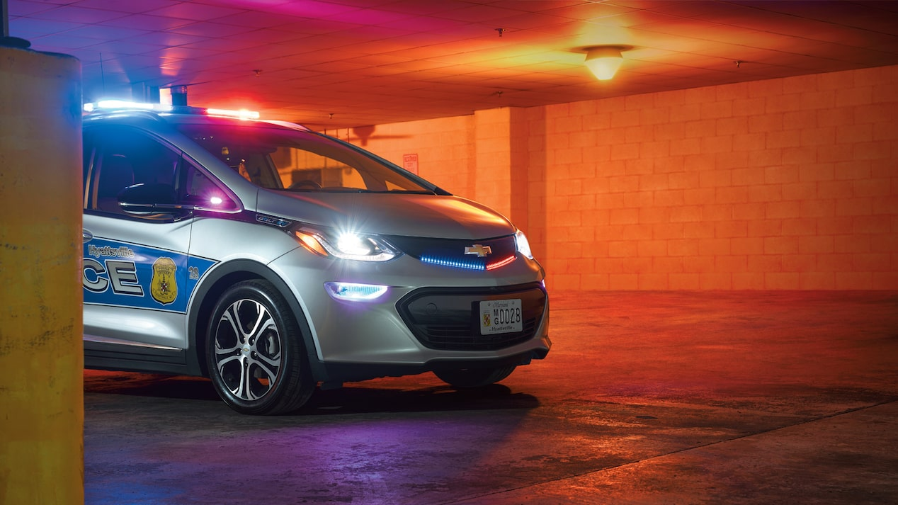 The Hyattsville, Maryland, police department's Bolt EV with its lights activated.