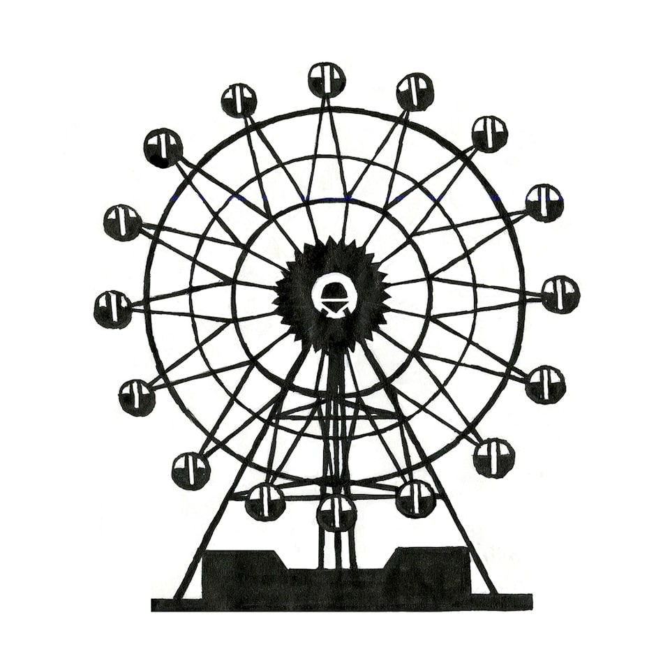 Illustrated Ferris wheel.