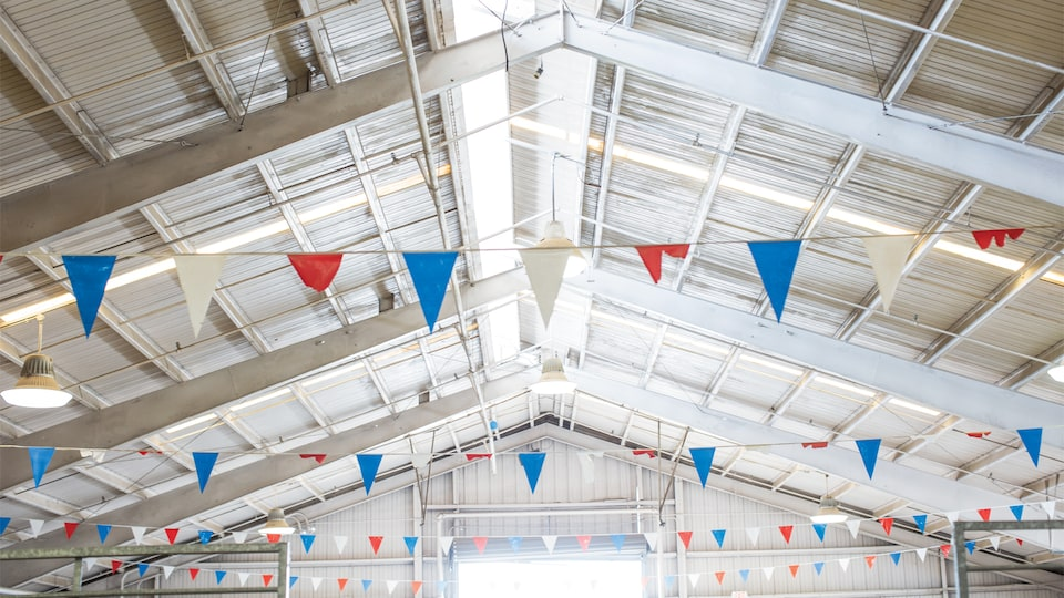 Red white and blue flags inside a barn at a state fair.