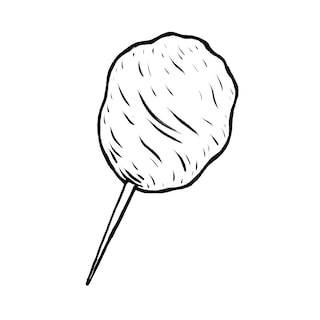 Illustration of cotton candy on a stick.