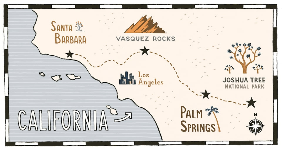 Illustrated map of parks in southern California.