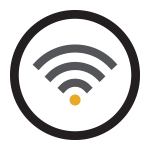 An icon illustrating available Wi-Fi.