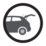 An icon illustrating available hands-free liftgate.