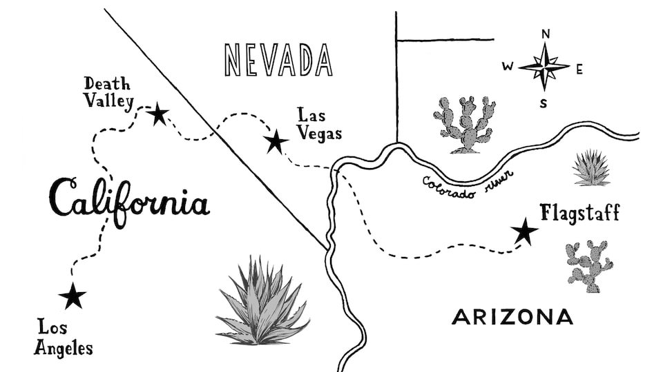 A hand-drawn map that shows the route from Los Angeles to Las Vegas to Flagstaff, with drawings of cacti.