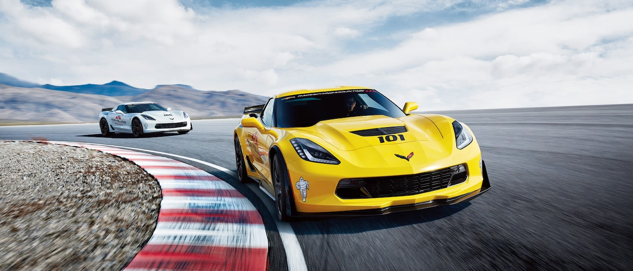 Yellow and white Corvettes on the track.