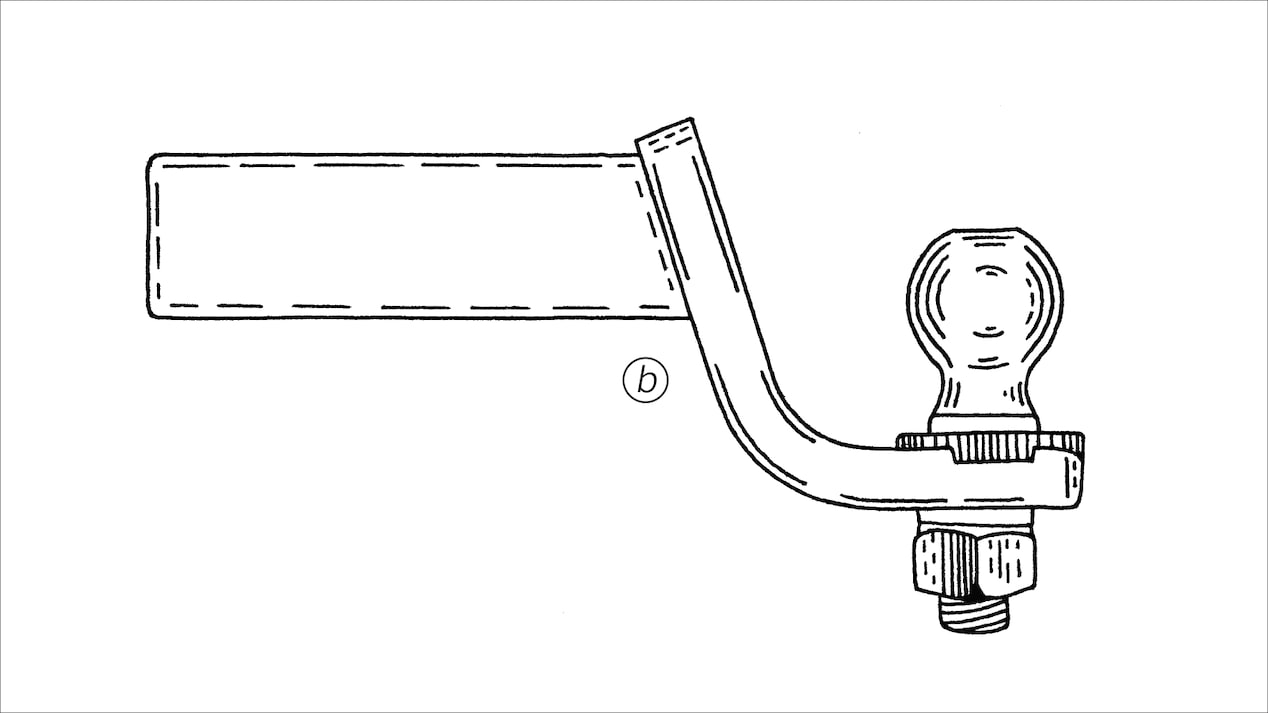 Graphic of a draw bar and hitch ball.
