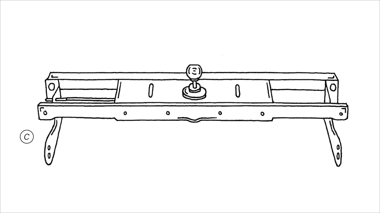 Graphic of a gooseneck hitch.