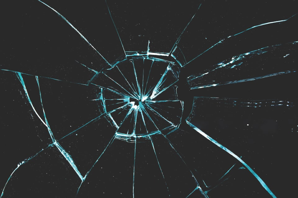 Cracked Glass Greater Than Half Inch In Diameter Or Spider