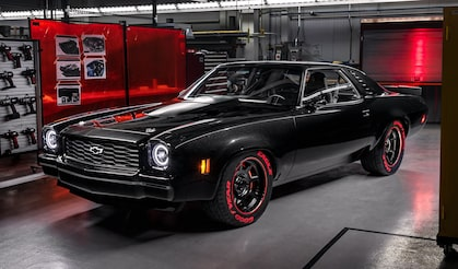 Check Out The 1973 Chevelle Laguna Concept Favorite At SEMA Featuring The Chevrolet Performance LT5 Crate Engine.