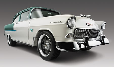 1955 Bel Air classic lines with the efficiency of a modern Chevrolet Performance crate engine and transmission.