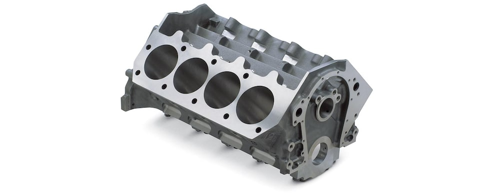 Chevrolet Performance Big-Block DRCE 2 Bare Engine Block Gray Iron Top Front View