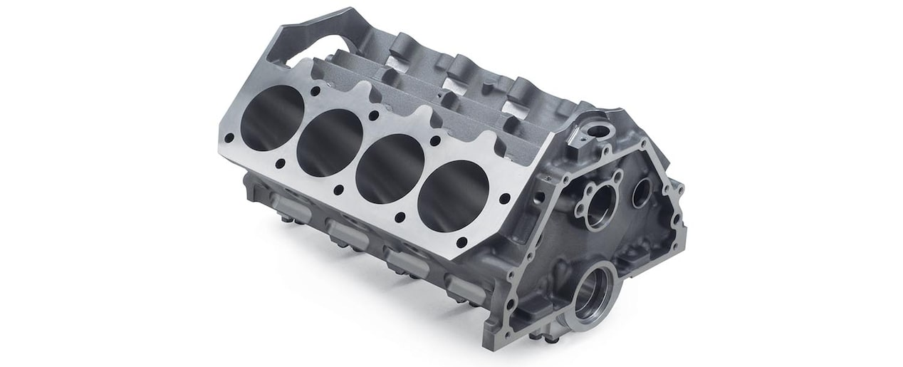 Chevrolet Performance Big-Block DRCE 2 Bare Engine Block Gray Iron Top Rear View
