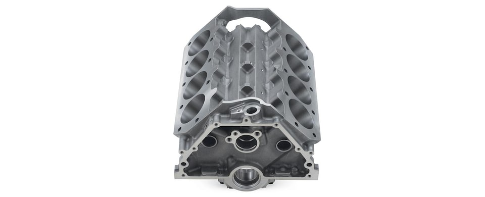 Chevrolet Performance Big-Block DRCE 2 Bare Engine Block Gray Iron Lifter Valley View