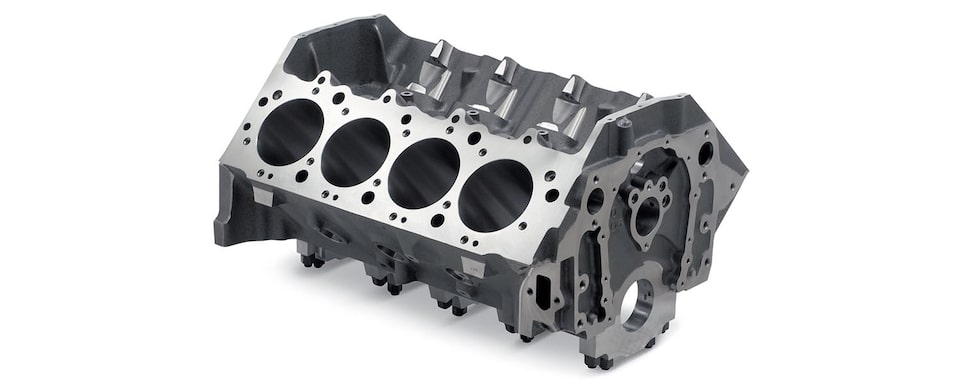 Chevrolet Performance Big-Block Cast-Iron Bowtie Race Bare Engine Block Top Front View