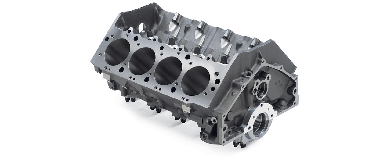 Chevrolet Performance Big-Block Cast-Iron Bowtie Race Bare Engine Block Top Rear View