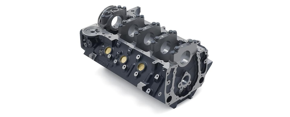 Chevrolet Performance Big-Block 502 Mark IV/Gen VI Bare Engine Block Bottom Front View