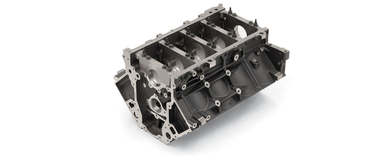 Chevrolet Performance LS/LT/LSX-Series Production Cylinder Gen IV 6.0L Cast-Iron Engine Block Bottom Front View