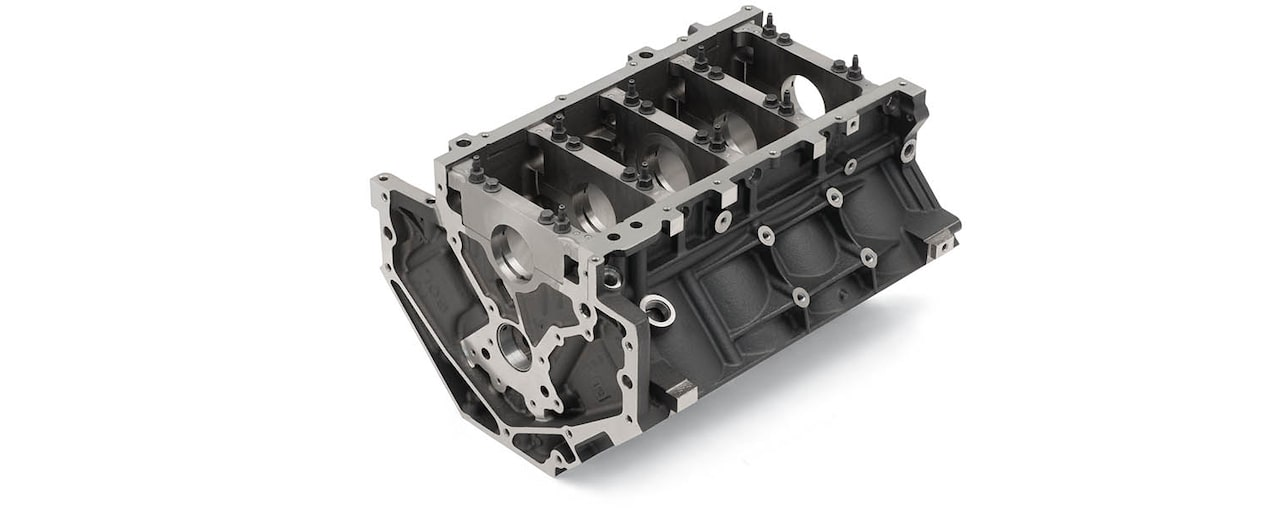 Chevrolet Performance LS/LT/LSX-Series Production Cylinder Gen IV 6.0L Cast-Iron Engine Block Bottom Rear View