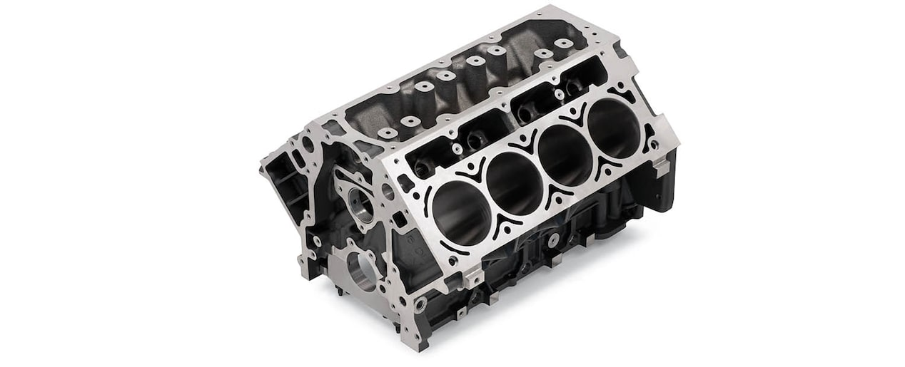 Chevrolet Performance LS/LT/LSX-Series Production Cylinder Gen IV 6.0L Cast-Iron Engine Block Top Front View